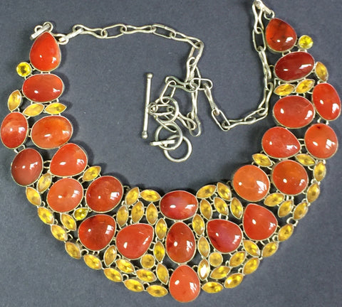 "20"" - 29"" Carnelian and Citrine Statement Necklace"