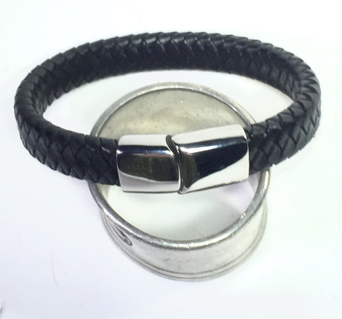 "8"" Unisex Braided Leather and Silver Clasp Bracelet"