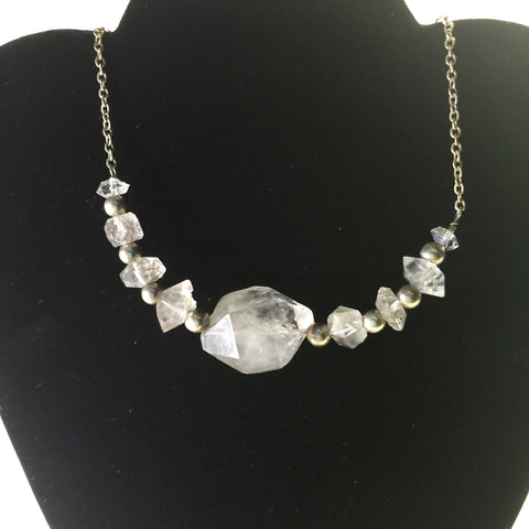 "16.5"" Herkimer Diamond and Sterling Silver Necklace"