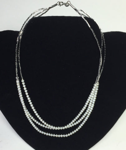 "17"" Three tier Small Pearl Necklace"