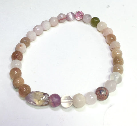 "7"" Rose Quartz, Peach 🍑 Moonstone, Flourite, Rhodochrosite and Quartz Bracelet"