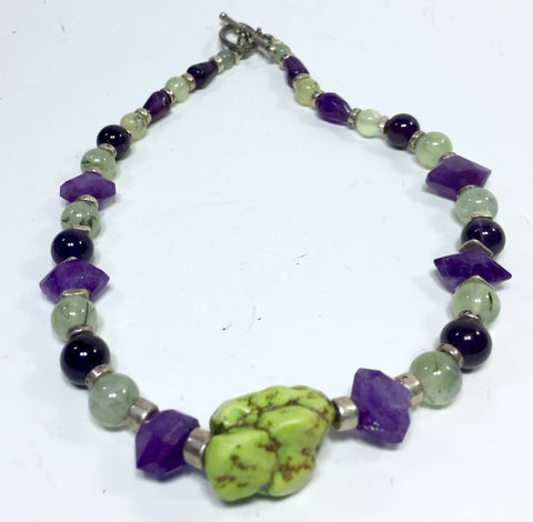 16.5 Gaspiete Cluster Necklace with Prehnite and Amethyst, toggle, silver