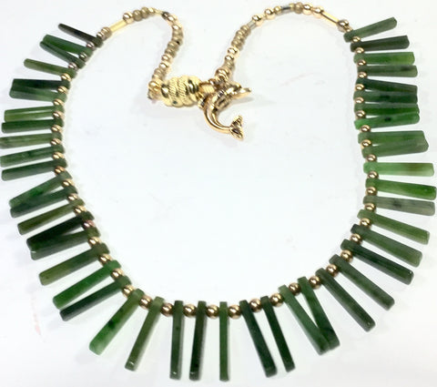 "15.5"" Jade and Gold Necklace"
