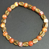 "7.25"" Fire Agate and Vintage Gold Bracelet"