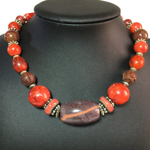"16"" Red Unisex Healing Necklace, men or women, Jasper, carved boxwood, Lotus, Energizer!"
