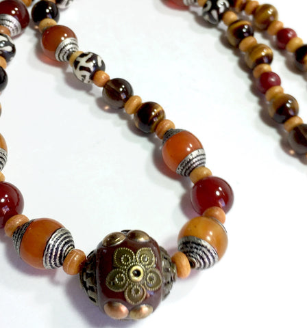 "21"" Eye of the Tiger Necklace with Tiger's Eye, Tibet Amber beads, plus more, silver box clasp"