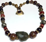 "19.75"" Blue Flash Labradorite Healer Healing Necklace made from Garnet, Bronzite, Pyrite, and Ruby"