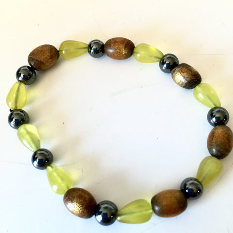 "6"" Bracelet, Hematite, Wood, Lemon Quartz"