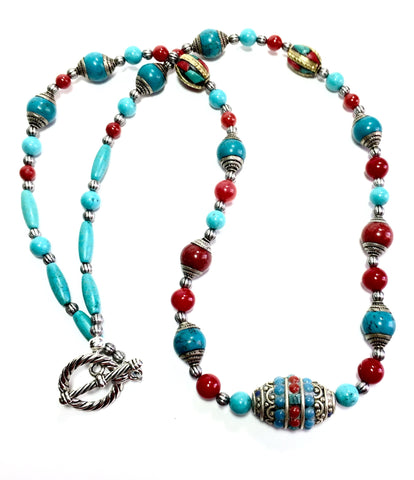 "18"" Tibetan Bead Turquoise Necklace, toggle clasp"