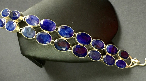 "7"" - 11"" Faceted Sapphire Gemstone and Silver Bracelet"