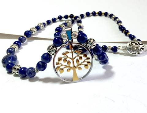 "19"" Tree of Life Lapis Lazuli Gold Silver Necklace, pendant"