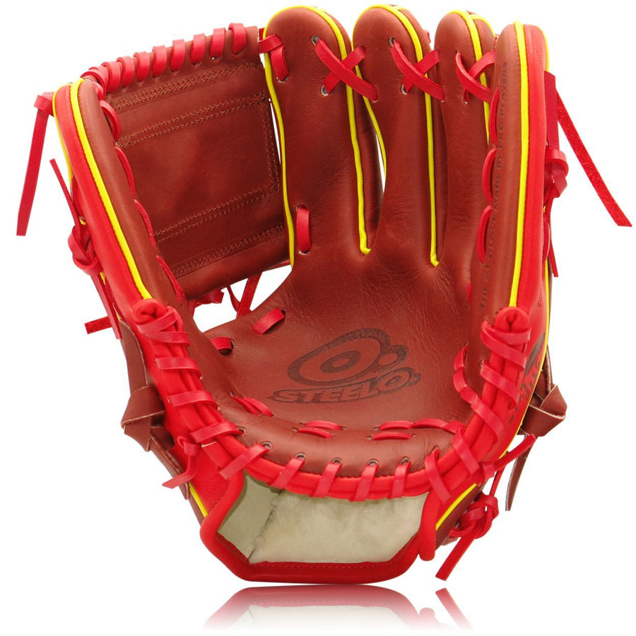 One Piece 12 BR/RED Custom Pro Steer Series Infielder's Glove - 11.50 Inch RHT