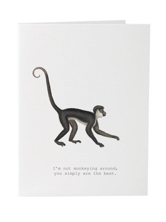 Monkeying Around Greeting Card on Blank Stationery