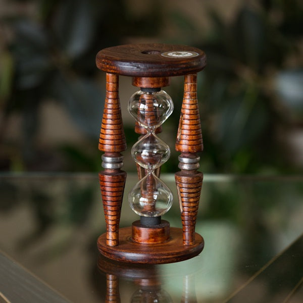 Three Tier Five Minute Antique Wood Fillable Sand Timer