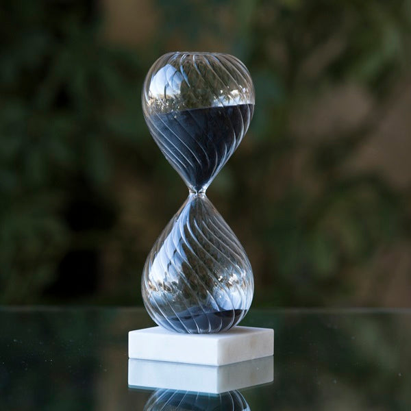 30 Minute Swirled Freestanding Glass Timer in 3 colors