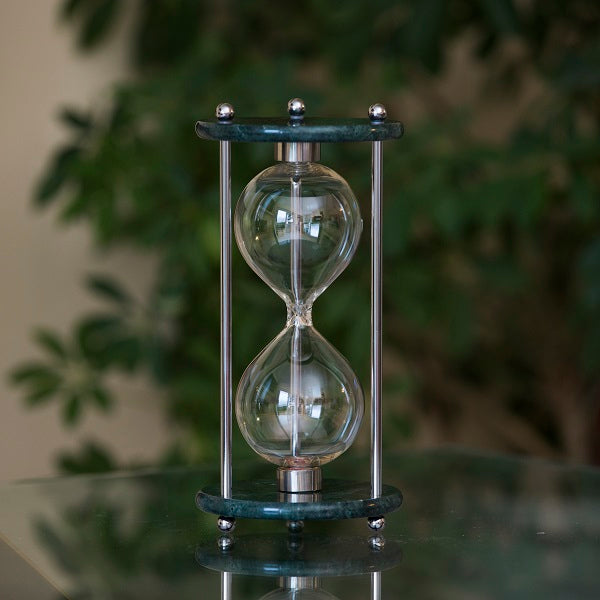 Green Marble Hourglass Kit with Brass or Chrome Spindles