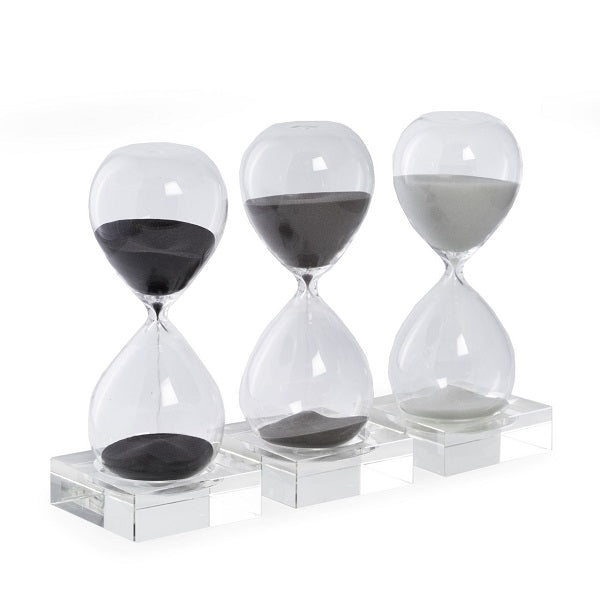 30 Minute Hand Blown Sand Timer on Crystal Base