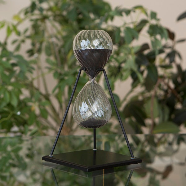 30 Minute Twisted Modern Glass Timer on Stand Black, White or Tan
