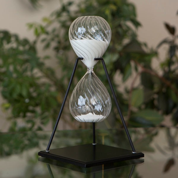 45 Minute Twisted Modern Glass Timer on Stand Black, White or Tan