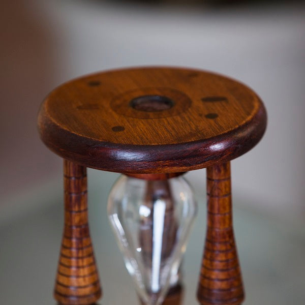 Antique Wood Sand Timer Urn