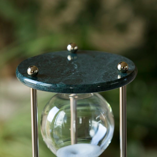 Black Marble Hourglass 60 Minute with Chrome or Brass Spindles