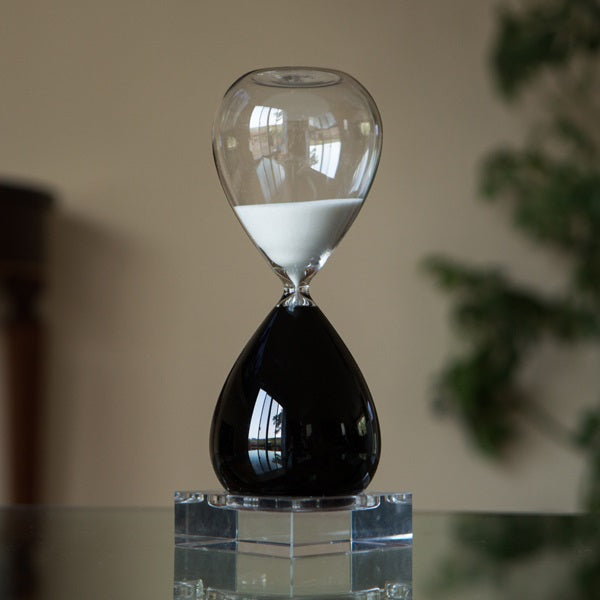 60 Minute Black and White Hourglass in Crystal Base