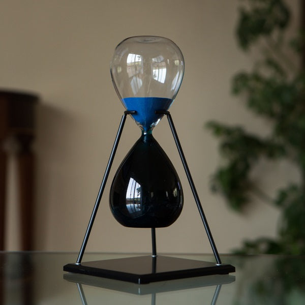 60 Minute Bicolor Blue Hourglass in Stand