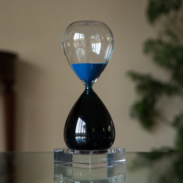 60 Minute Bicolor Blue Hourglass in Crystal Base