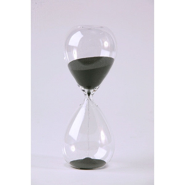 30 Min Tall Modern Glass Timer with Black Sand - Special Order