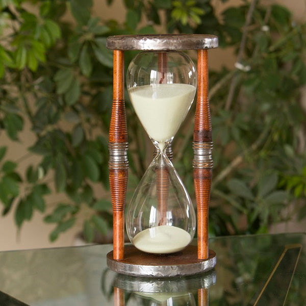 60 Minute Large Bobbin Hourglass Sand Timer - Yellow or White Sand