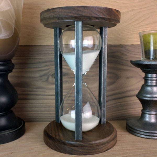 Walnut and Steel Hourglass