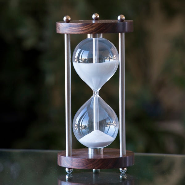 Solid Chechen 60 Minute Hourglass With Metal Spindles - White or Natural Sand