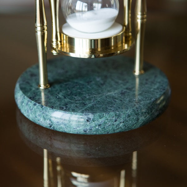 Green Marble and Brass Hourglass 30 Minute