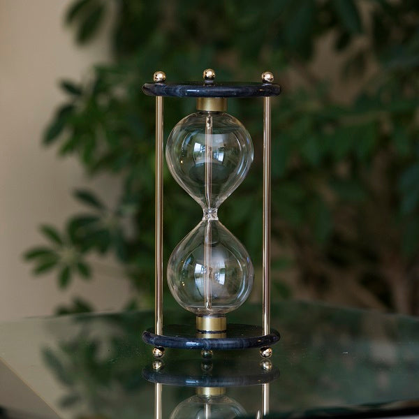 Black Marble Hourglass Kit with Chrome or Brass Spindles
