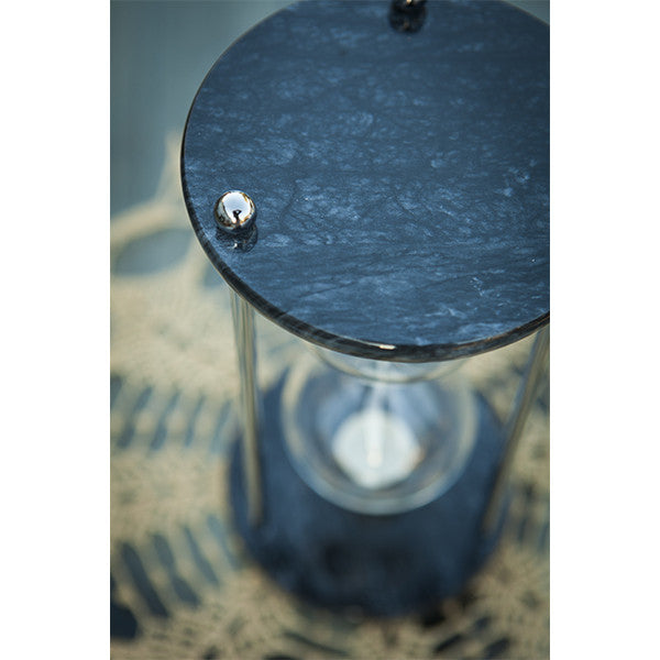 Black Marble Hourglass Urn with Chrome or Brass Spindles