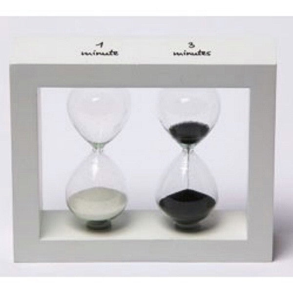 White Frame Egg and Tea Timer 1 and 3 Minute Hourglass