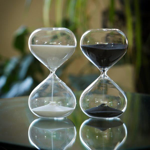 30 Min Modern Glass Timer -  Black White Red or Natural Sand