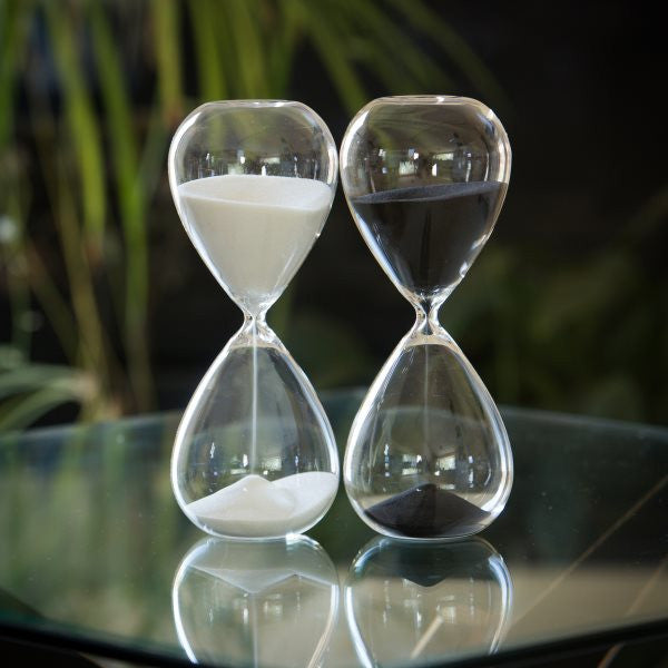 60 Min Tall Modern Glass Timer in Black or White image