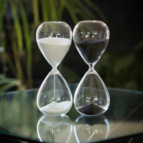 30 Min Tall Modern Glass Timer - Black White or Red Sand
