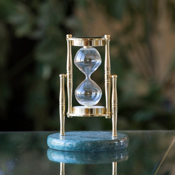 Green Marble and Brass Rotating Hourglass Kit