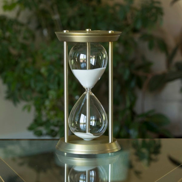 60 Minute Metal Sand Timer in Antique Brass or Antique Gold