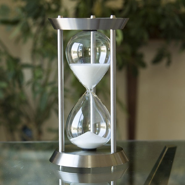 60 Minute Nautical Metal Sand Timer in Silver or Black Metallic