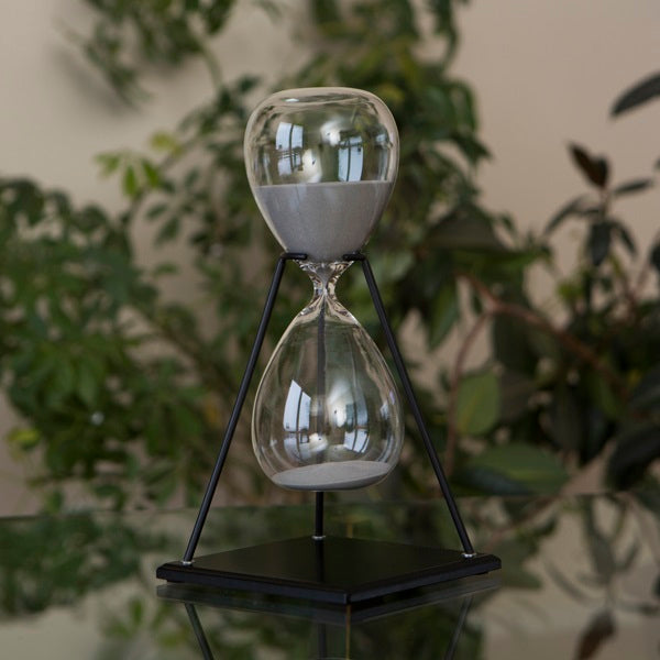 60 Minute Modern Glass Timer on Stand Black, White, Grey or Navy