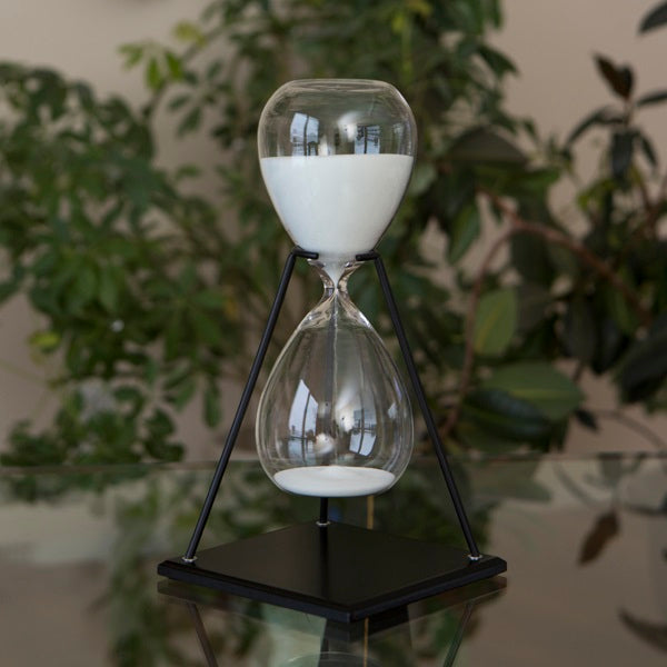 60 Minute Modern Glass Timer on Stand Black, White or Grey