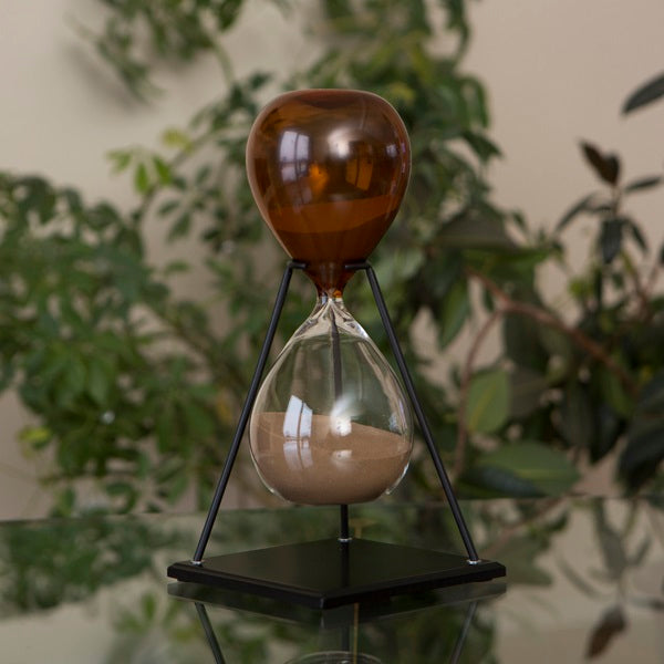 60 Minute Hand Blown Bicolor Modern Sand Timer - Blue, Purple or Amber