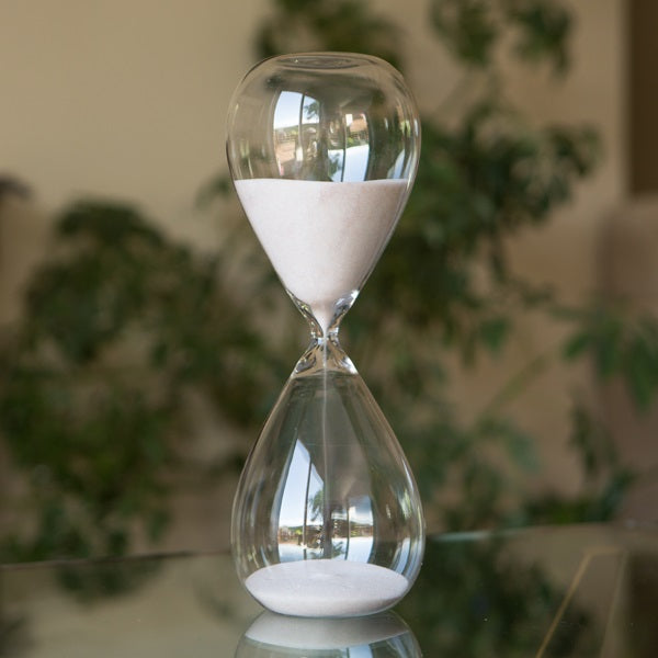 Large Freestanding Hourglass with Natural or Yellow Sand 60 Minute