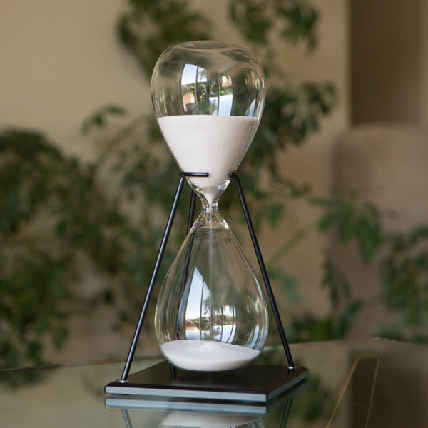 Large Freestanding Hourglass in Stand with Natural or Yellow Sand 60 Minute