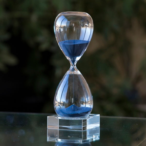 60 Minute Hand Blown Sand Timer on Crystal Base - 4 colors