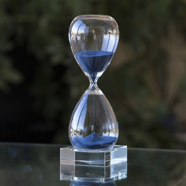 30 Minute Hand Blown Sand Timer on Crystal Base - 4 colors