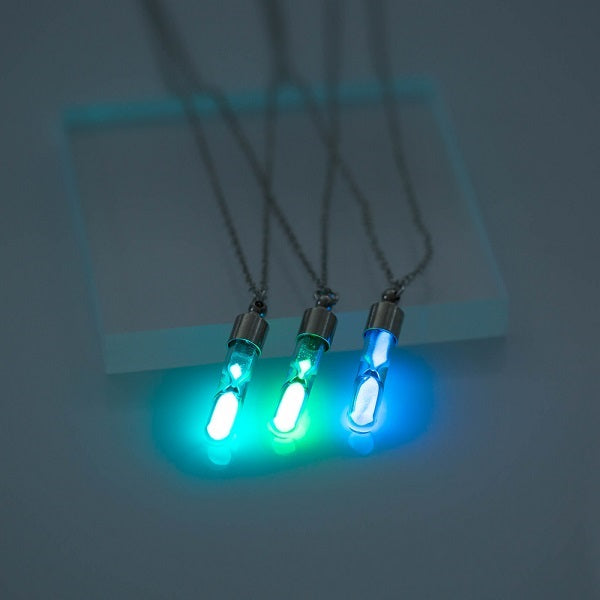Glow In the Dark Hourglass Necklace
